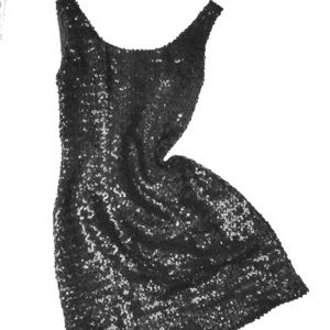 Vintage Black Sequin Sheath, Scoop Neck & Back
